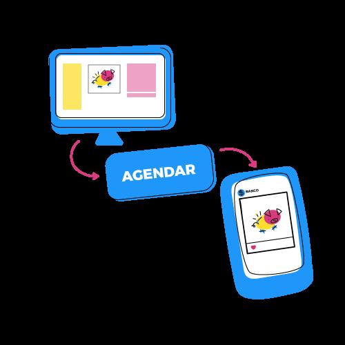 Ilustração da funcionalidade de agendamento do Postgrain