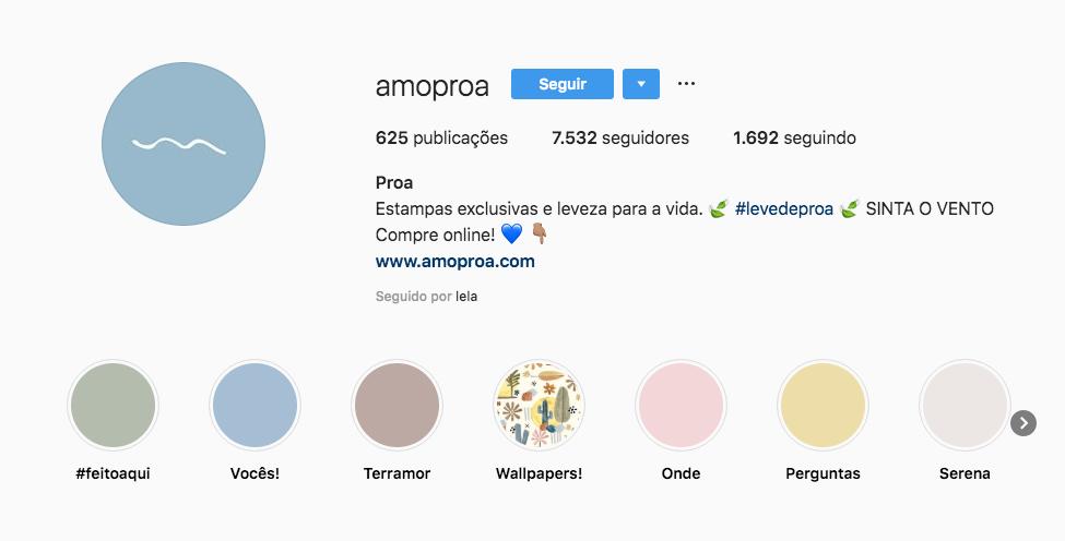 Imagem que mostra o perfil da marca de roupas Amo Proa, na rede social Instagram, onde você pode ver o número de publicações, de seguidores e a biografia da marca.