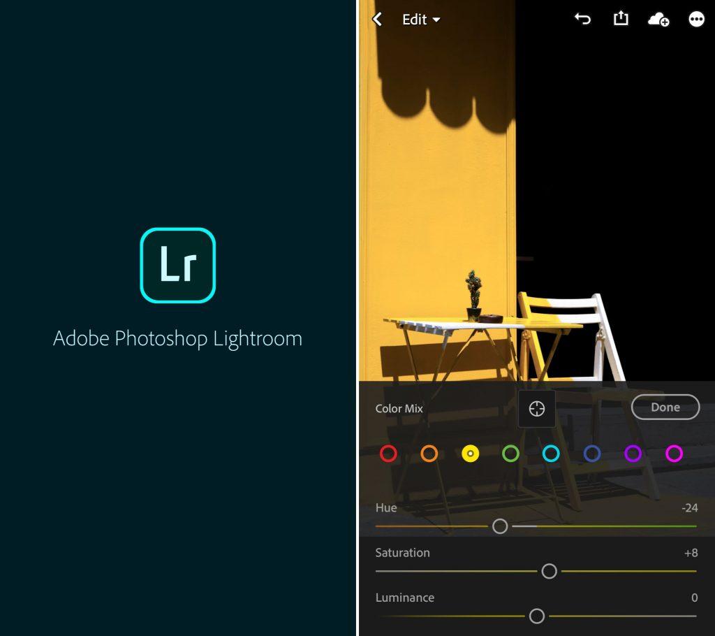 Captura de tela mostra o aplicativo Adobe Lightroom