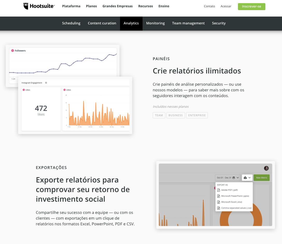 Captura de tela dos recursos do Hootsuite