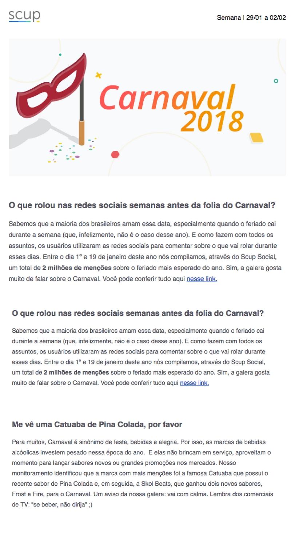 newsletter da scup com os 3 conteúdos que eles produziram sobre o carnaval