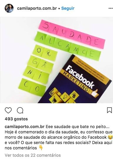 print de um post no instagram de camila porto
