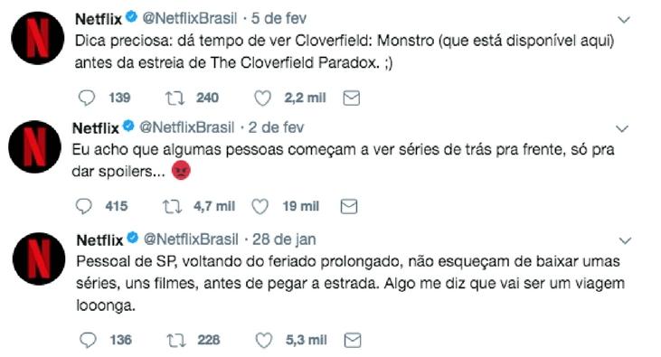 prints de tweets da Netflix