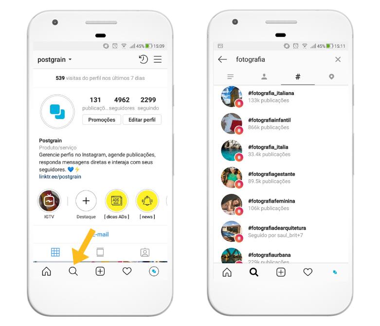 Como usar o buscador do Instagram para encontrar hashtags