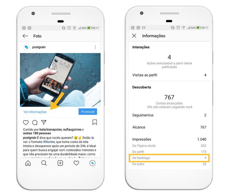 Analisando resultados das hashtags pelo Instagram Insights