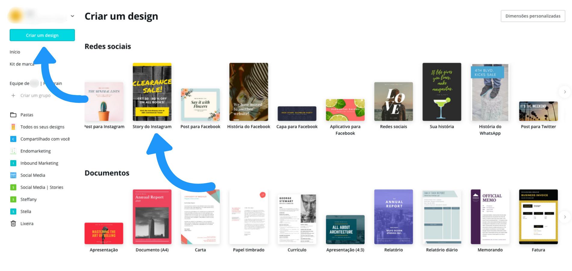 Criando um design no Canva Web