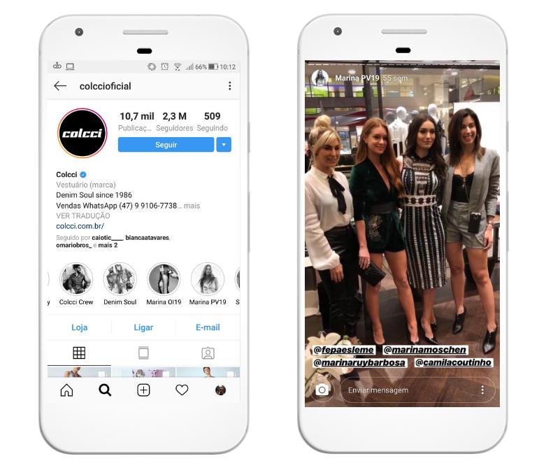 O perfil da colcci destaca as parcerias da marca