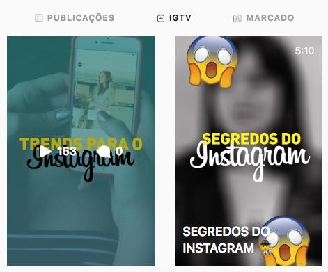capas de vídeos do IGTV