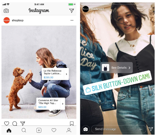 Screenshot - Instagram App, showcase of Instagram Shopping