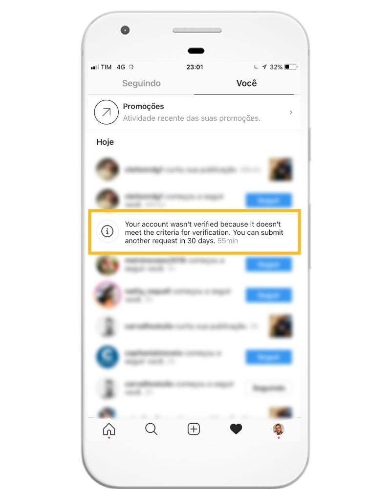 Resposta do Instagram depois da solicitação de verificação