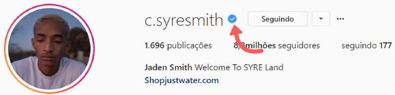 print do Instagram Web do perfil do ator jaden smith no Instagram