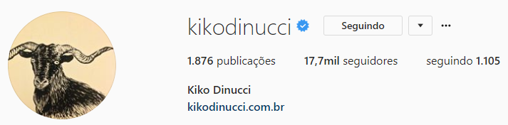 print do Instagram Web do perfil do músico Kiko Dinucci