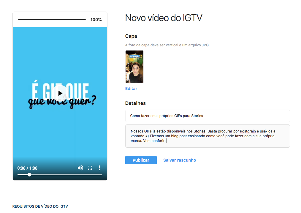 Print mostrando Como carregar um vídeo no IGTV pelo computador