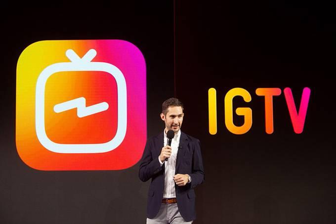 Foto de Kevin Systrom no evento que apresentou o IGTV