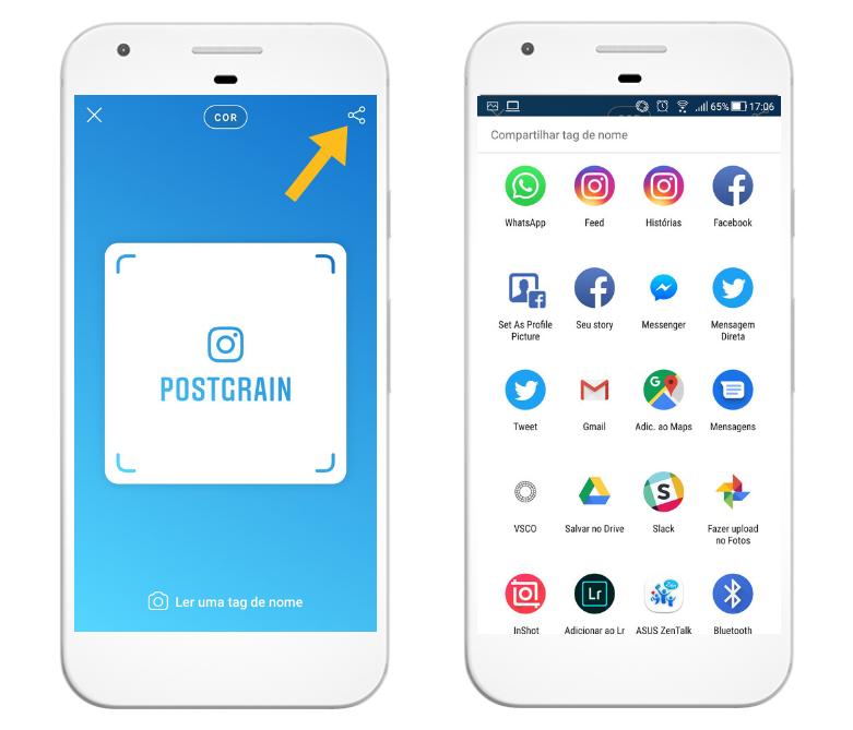 Como compartilhar a Nametag do Instagram nas redes sociais