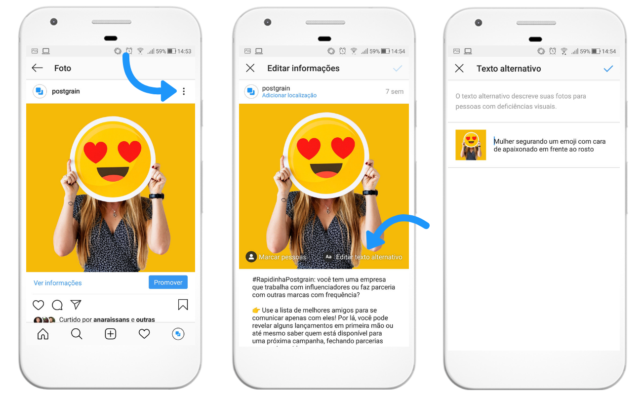 Captura de tela mostrando como editar um texto alternativo de um post já publicado no Instagram