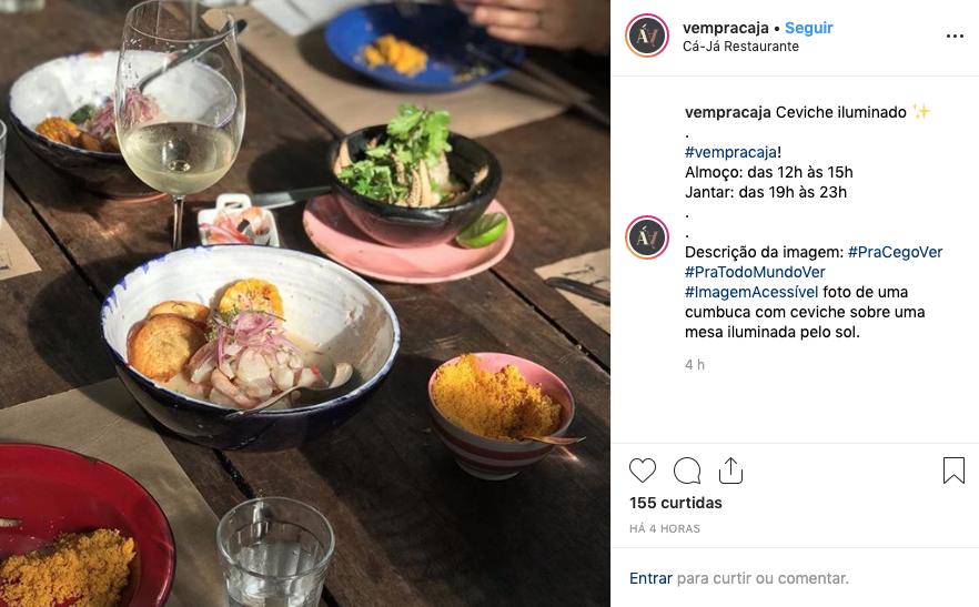 Captura de tela de um post do @vempracaja, que usa a hashtag #pracegover em todos os posts