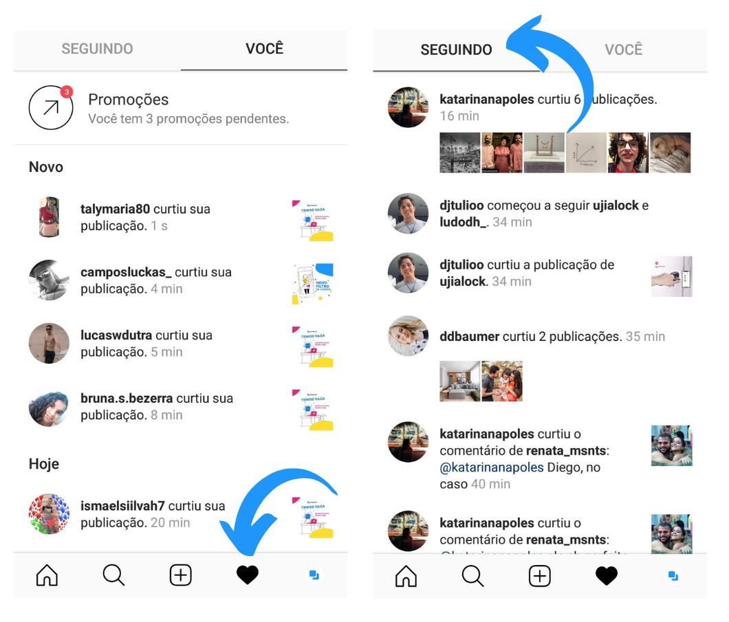 Capturas de tela mostrando como acessar a aba Seguindo no Instagram