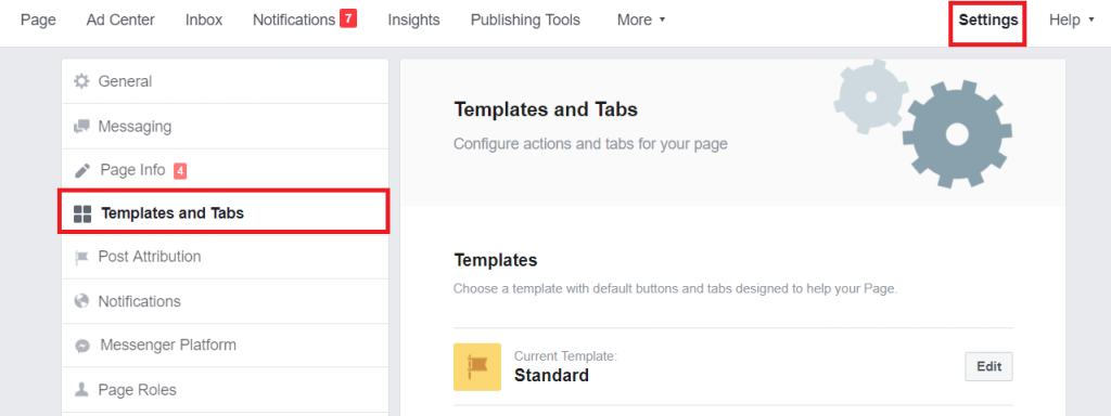 Screenshot - Facebook Page Settings