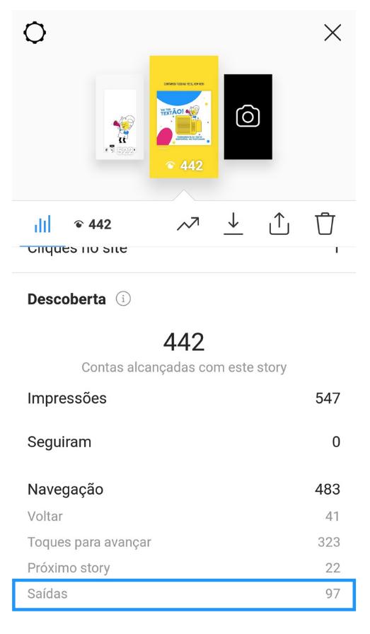Captura de tela mostrando como acessar a métrica de saídas de um story