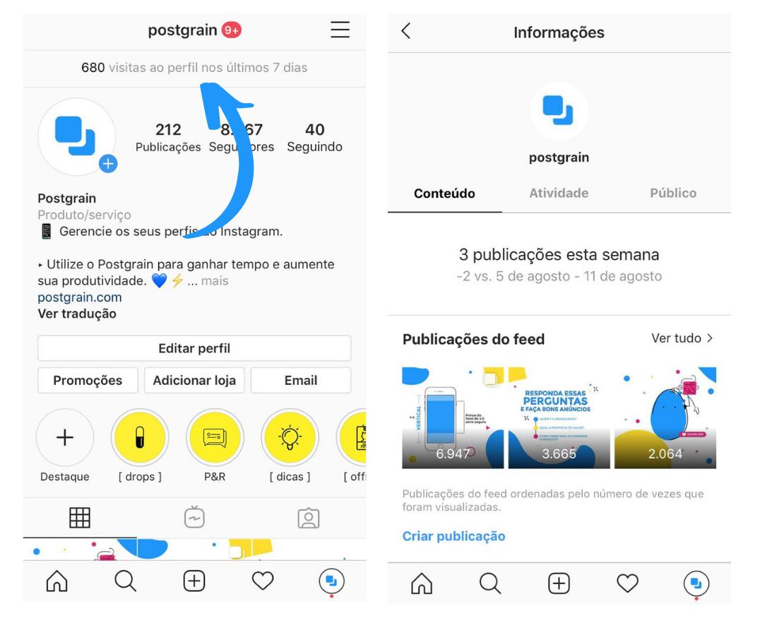 Capturas de tela mostrando como acessar o Instagram Insights pelo iPhone