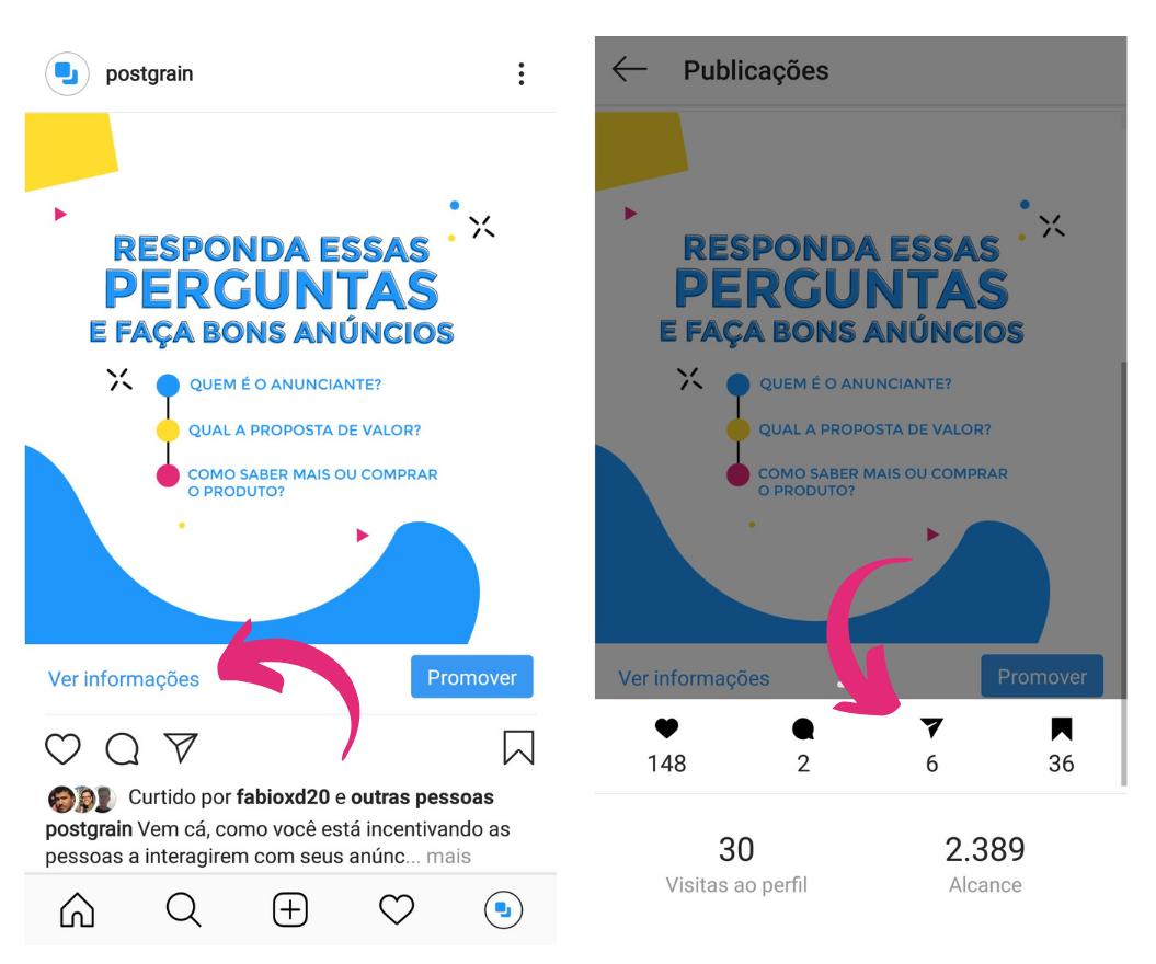 Capturas de tela mostrando como acessar a métrica de compartilhamento no Instagram