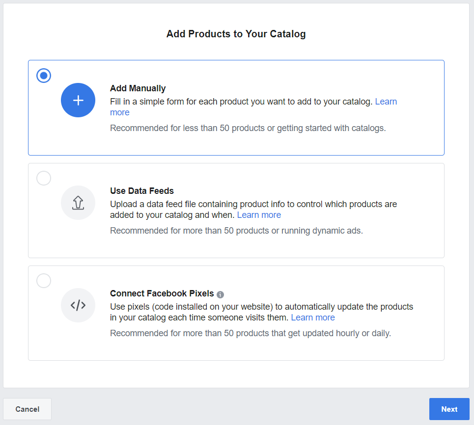Screenshot - Options for adding products on Facebook Business Manager
