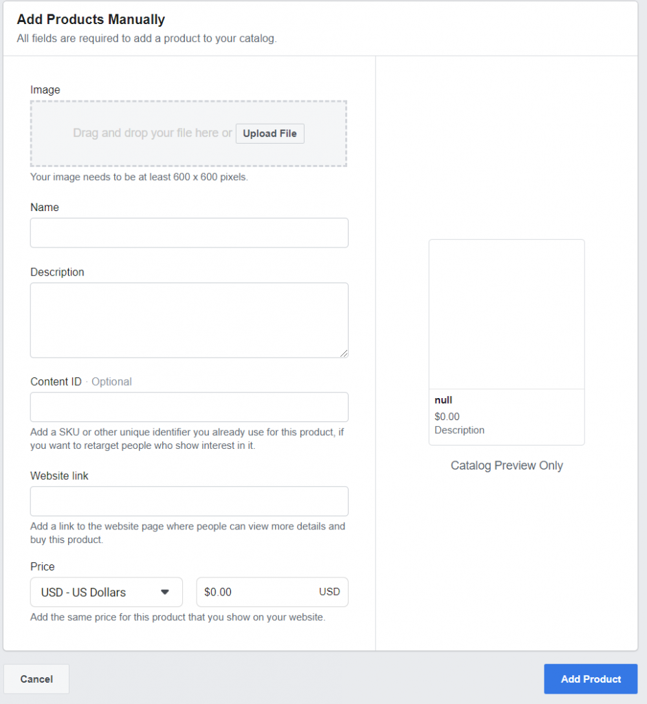 Screenshot - Adding Products Manually on Facebook Business Manager
