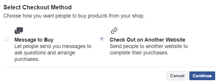 Screenshot - Select Checkout Method