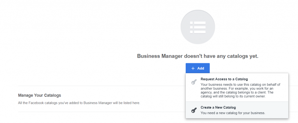 Screenshot - Creating a new catalog on Facebook Business Manager