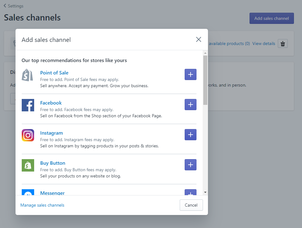 Screenshot - Adding a new Sales Channel on Shopify