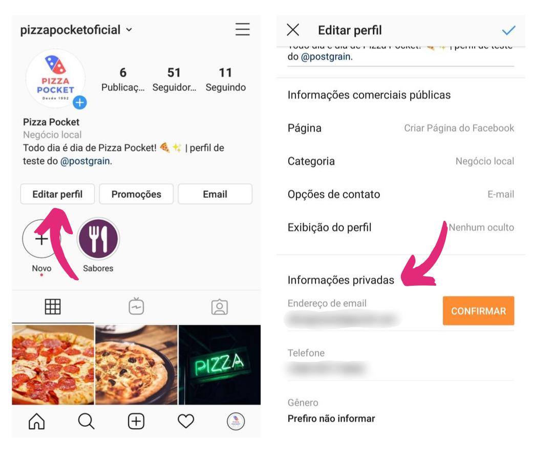 Captura de tela mostrando como editar informações de contato no Instagram