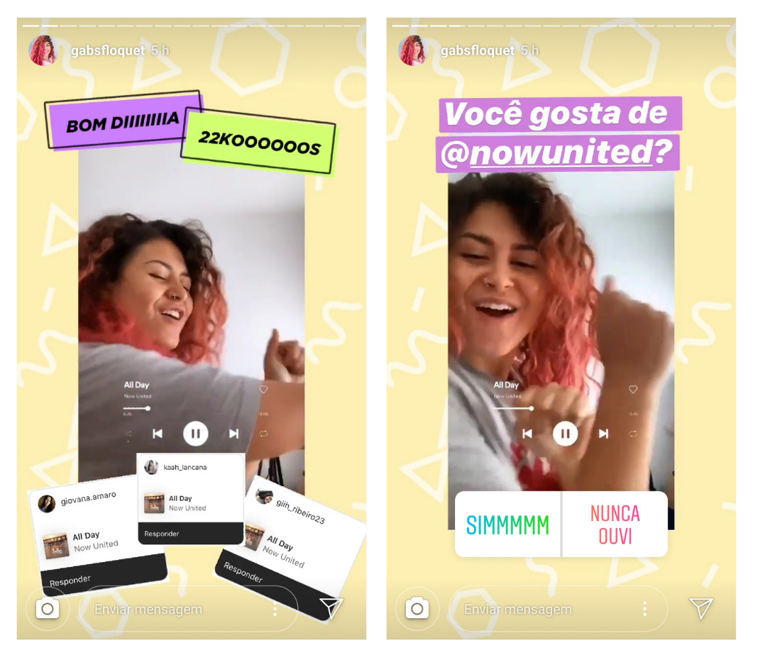 Captura de tela de Stories da influencer Gabs Floquet