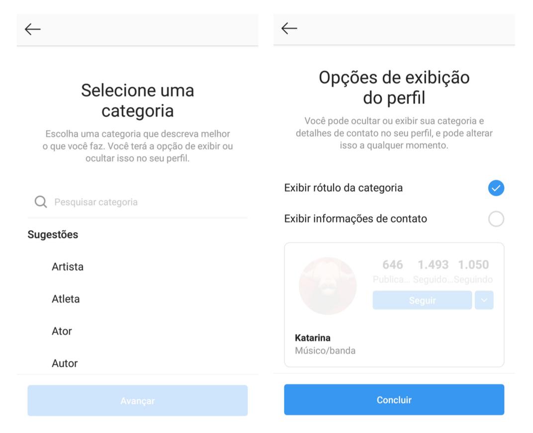 Capturas de tela mostrando como passar para uma conta de criador de conteúdo