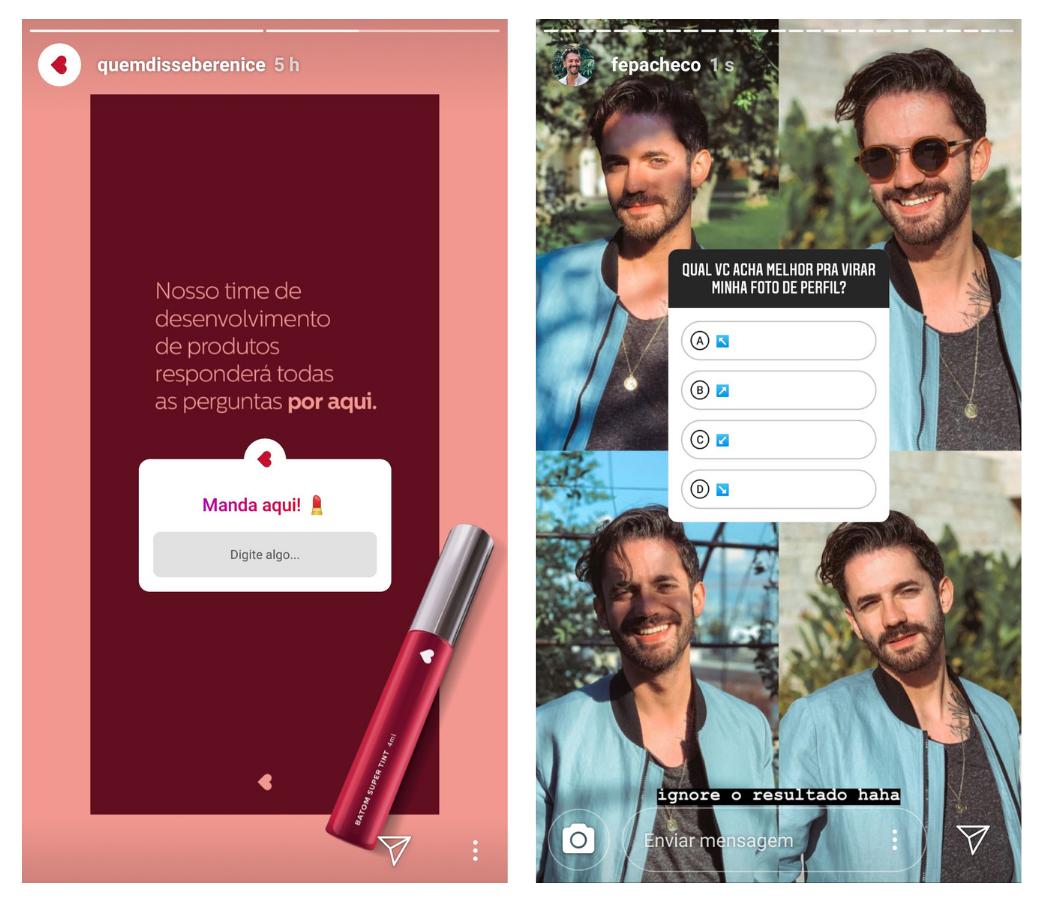 Captura de tela de stories usando os adesivos de Quiz e de Pergunta