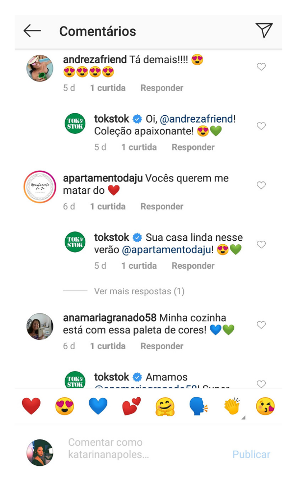 Captura de tela do perfil da Tok&Stok respondendo todos os comentários de um post do feed