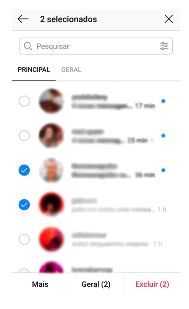 Captura de tela mostrando o seletor das mensagens diretas do Instagram Creator