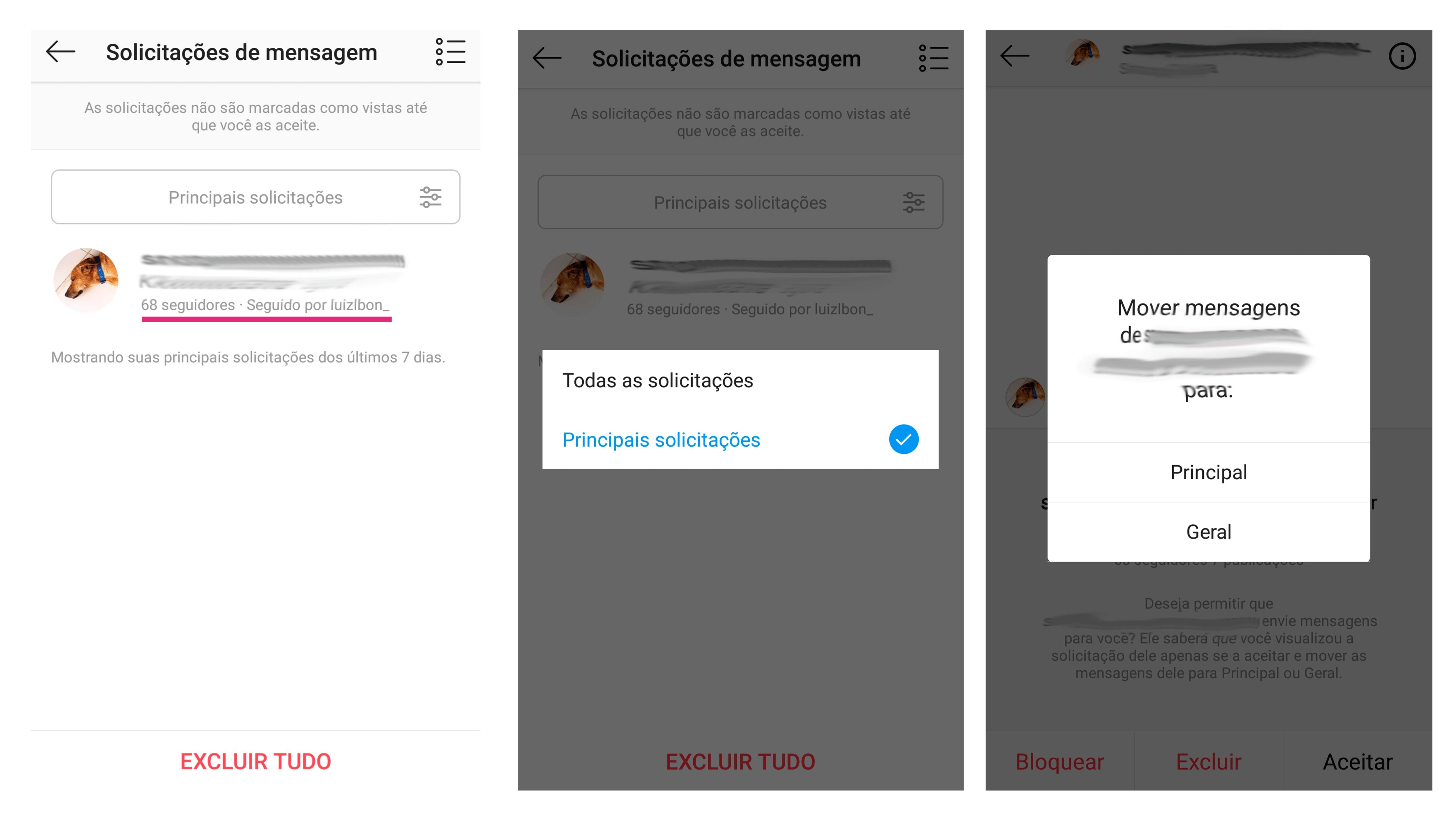 Capturas de tela mostrando as solicitações de mensagens do Instagram Creator