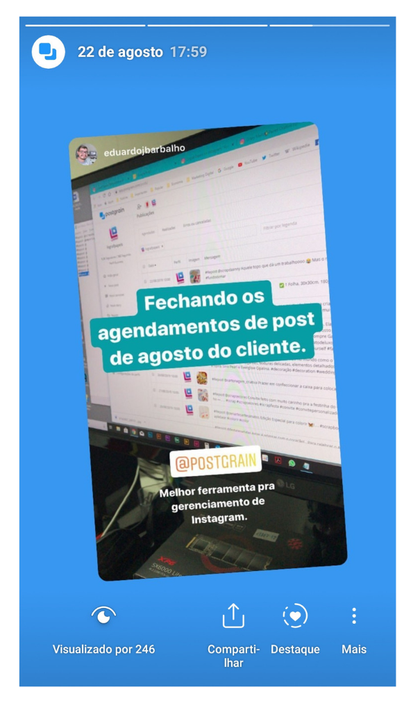 Captura de tela de um story do Postgrain