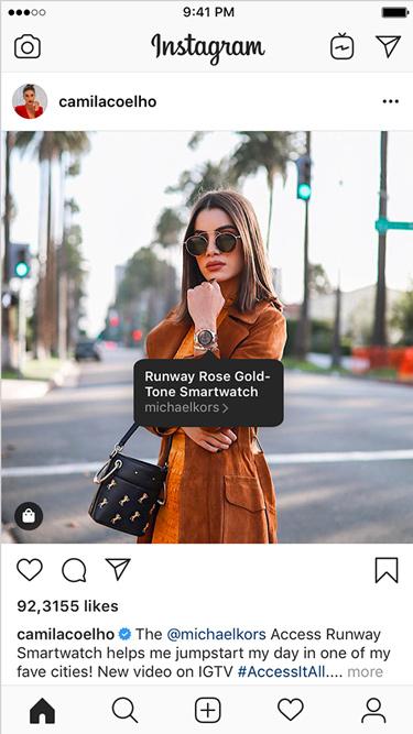 Captura de tela da marcação de produto de uma influenciadora no Instagram