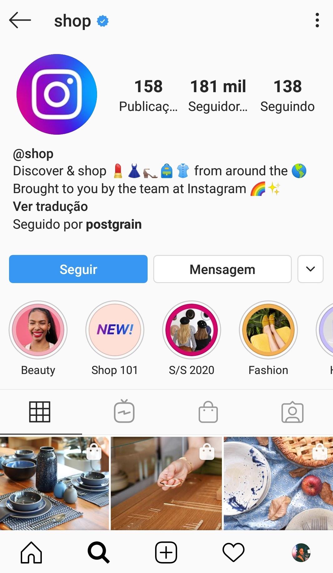 Captura de tela do perfil @shop do Instagram