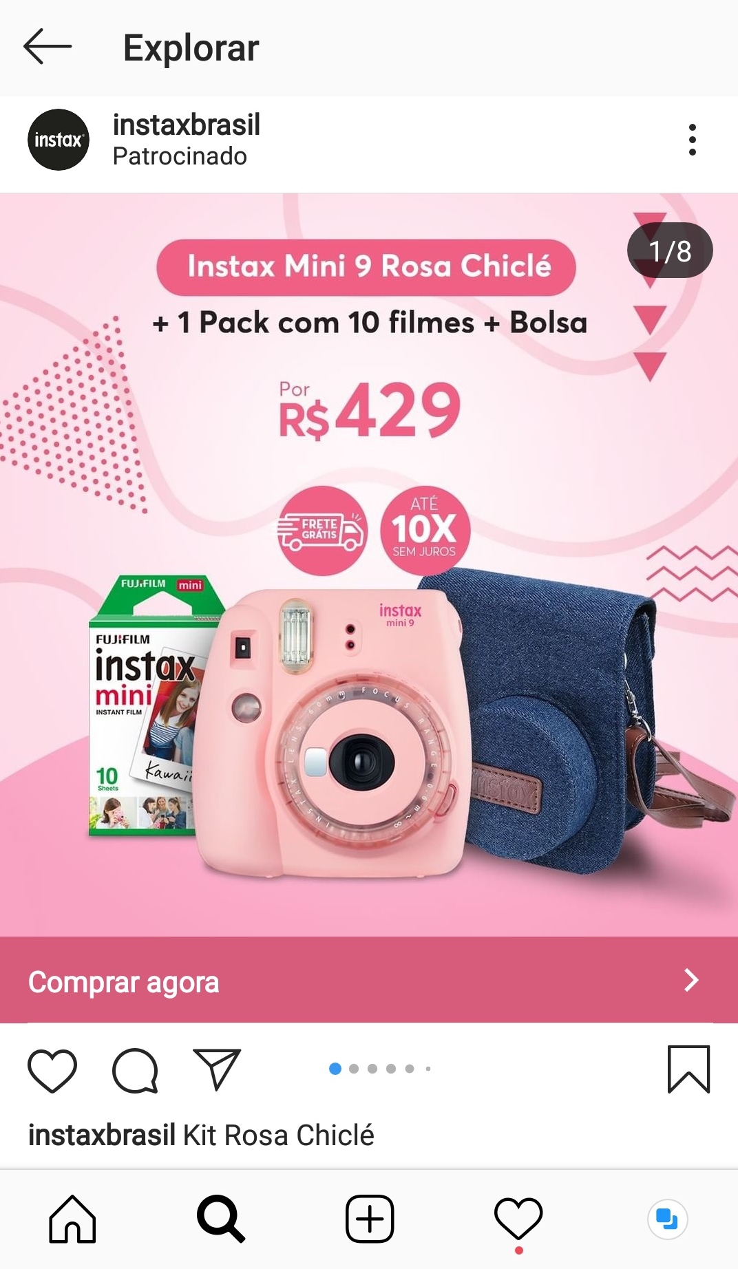 Captura de tela de um anúncio na aba Explorar do Instagram