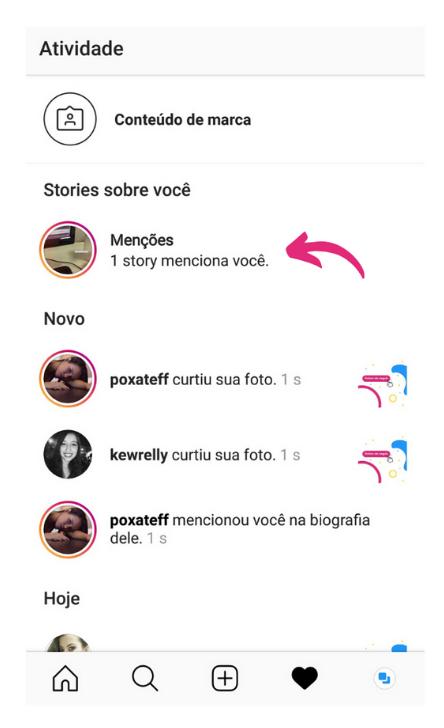 Captura de tela mostrando as menções nas notificações de atividade do Instagram