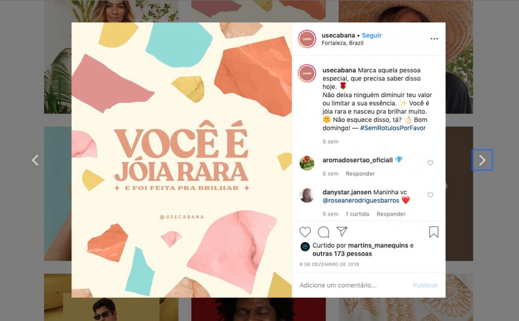 Captura de Tela do perfil do Instagram da marca Cabana
