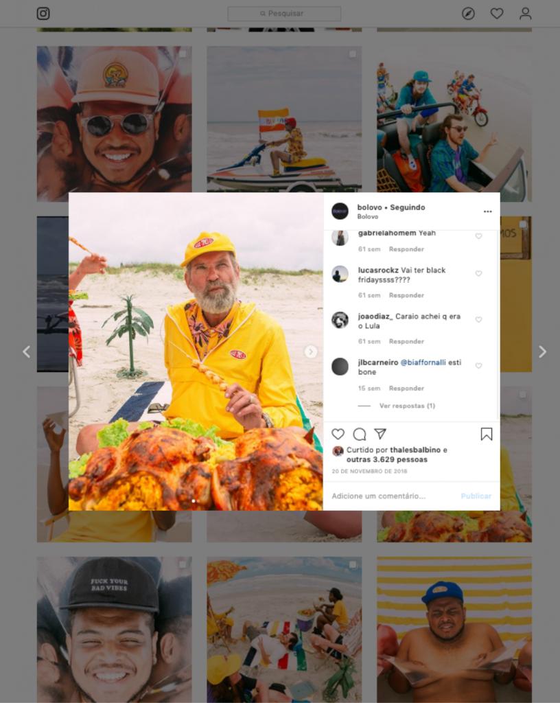 Captura de publicação no Instagram da marca Bolovo