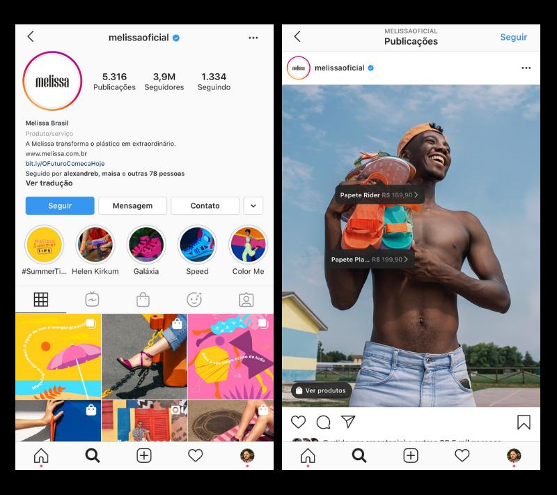 Captura de Tela do Perfil da Melissa no Instagram com produtos marcados