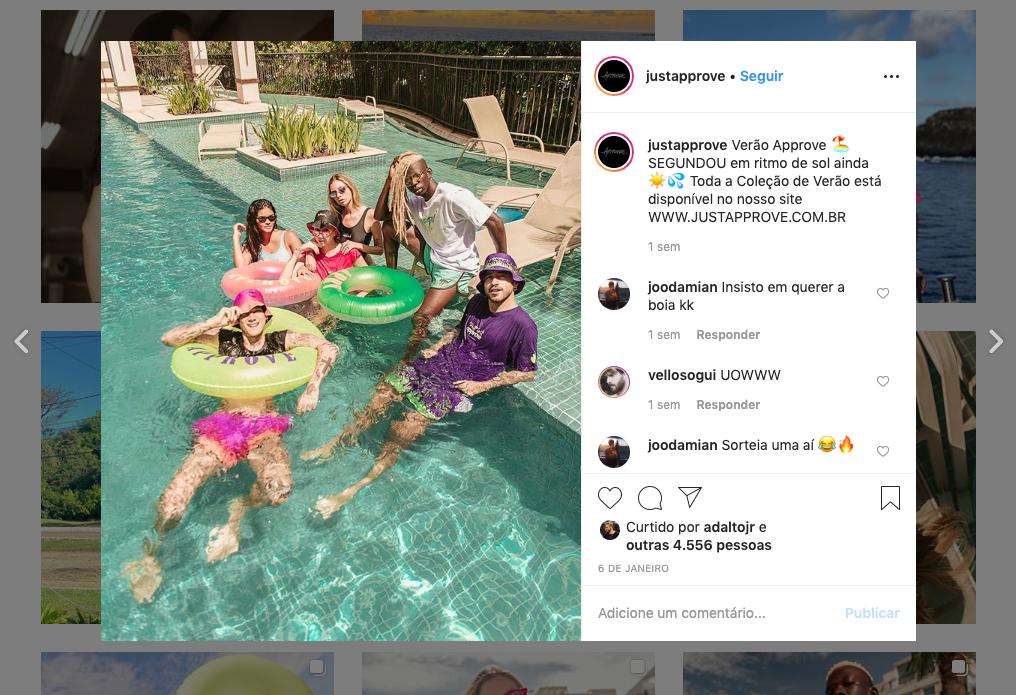 Captura de Tela do perfil no Instagram da Approve
