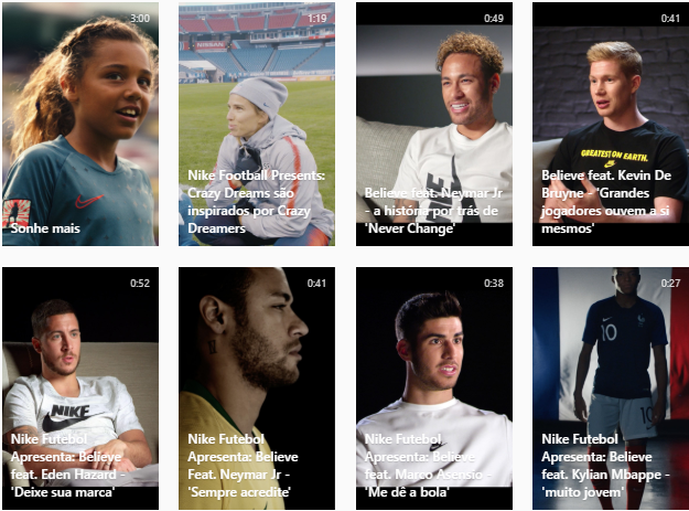 Captura de tela da aba de IGTV do perfil da NikeFootball no Instagram