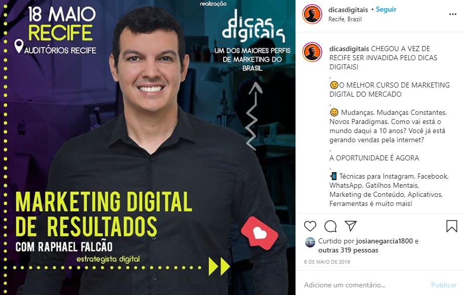 Captura de tela de um post do perfil @dicasdigitais no Instagram