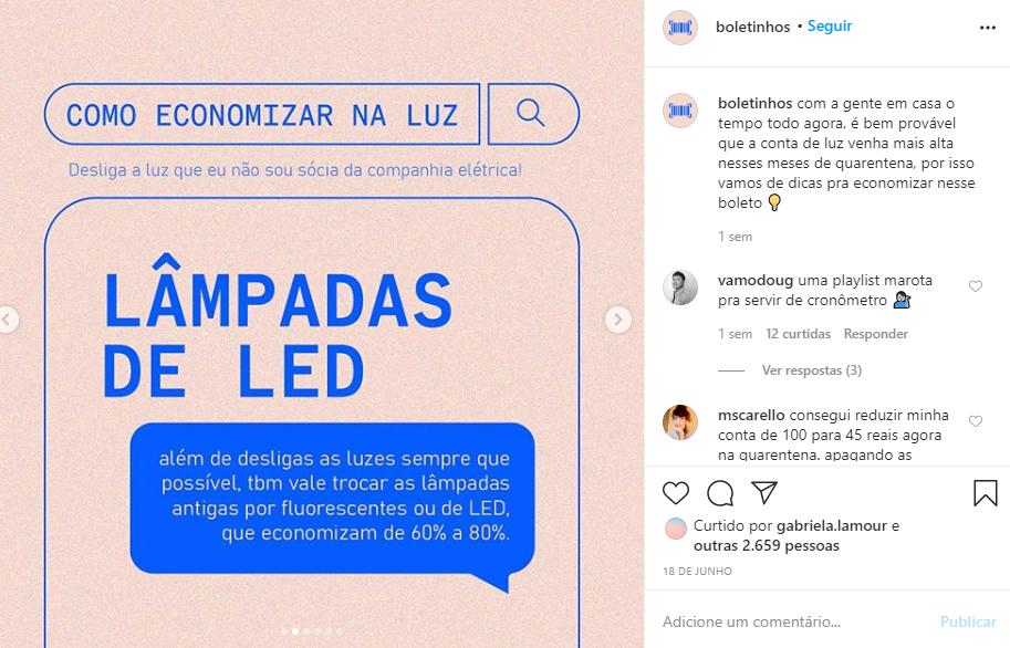 Captura de tela do perfil do Instagram @boletinhos